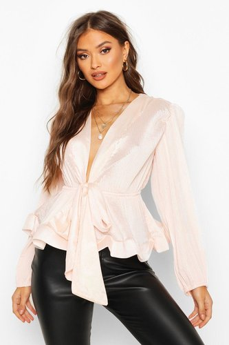 Woven Crinkle Tie Front Blouse - pink - XL