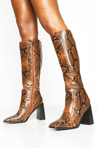 Square Toe Snake Block Heel Knee High Boots - brown - 6