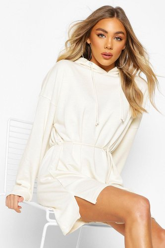 Hooded Draw String Belted Sweatshirt Dress - cream - 6