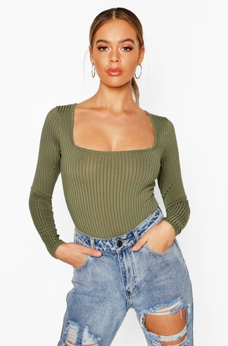 Square Neck Rib Knit Long Sleeve one piece - green - 10