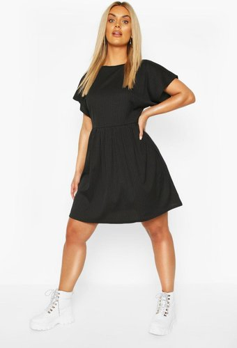 Plus Jumbo Rib Smock Dress - black - 12