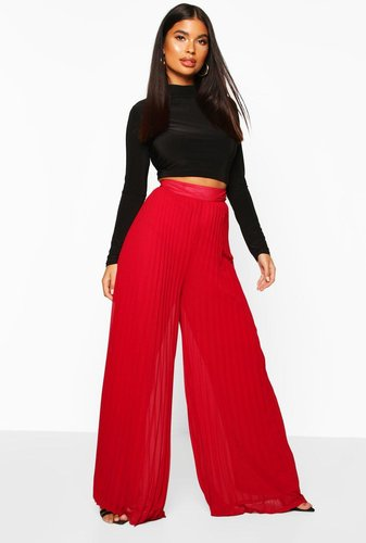 Petite Premium Wide Leg Pleated pants - mahogany - 0