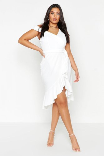 Plus Asymmetric Belted Ruffle Hem Midi Dress - white - 12