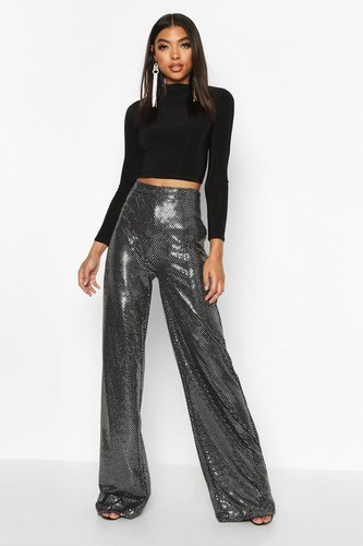 Tall Sequin Wide Leg pants - grey - 4