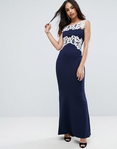 Maxi Dress With Lace Inserts - Black