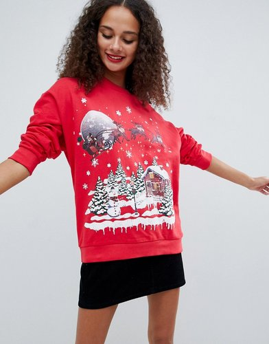 christmas sweat with retro festive print - Red