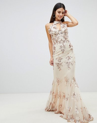 maxi dress with gold embellishment in cream - Multi