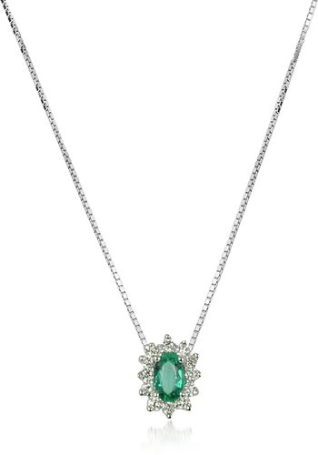Necklaces Diamond and Emerald Drop 18K Gold Necklace