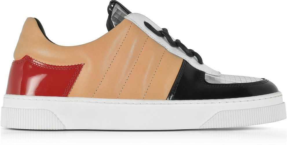 Designer Shoes, Light Brown Nappa and Silver Laminated Leather Sneakers