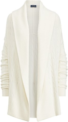 Cashmere Shawl Cardigan in Collection Cream - Size L