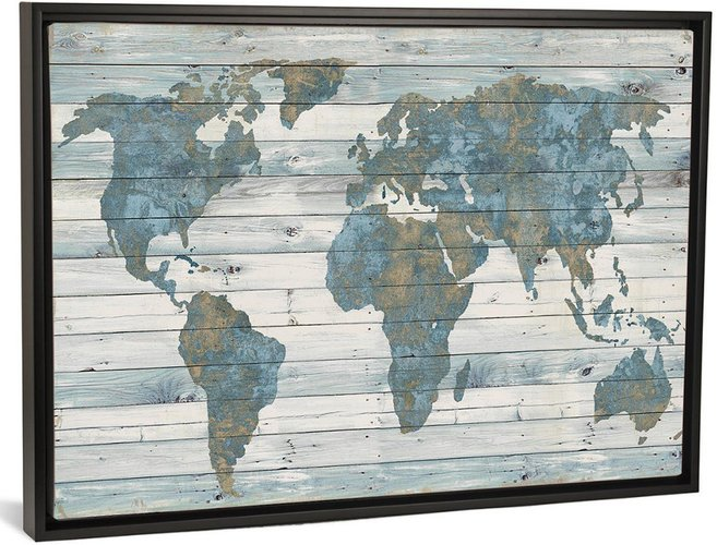 iCanvas iCanvas World Map On Wood by Janie Macdowell