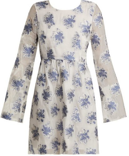 In The Hills Floral Fil-coupé Organza Dress - Womens - White Multi
