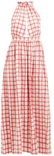Linny Checked Halterneck Cotton Dress - Womens - White