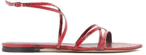Apopee Python-effect Leather Sandals - Womens - Red