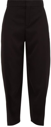 Pleat-front Cropped Crepe Trousers - Womens - Black