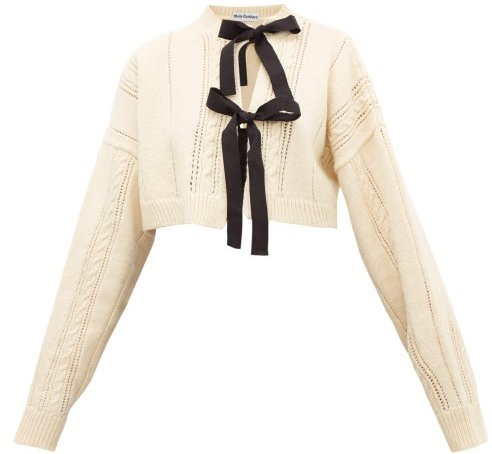 Venetia Bow-front Cropped Wool Cardigan - Womens - Cream