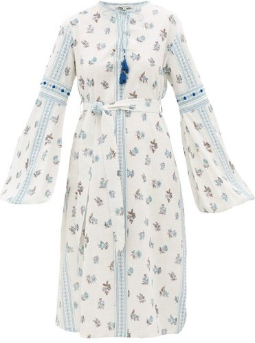 Montauk Belted Floral-print Cotton Dress - Womens - Blue Print