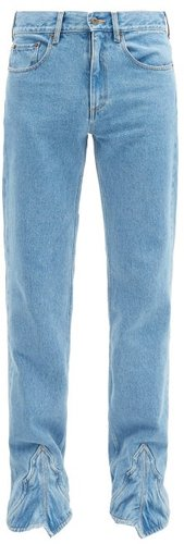 Western-panel Straight-leg Jeans - Mens - Blue