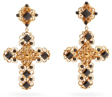Beaded Crystal-embellished Cross-pendant Earrings - Womens - Gold