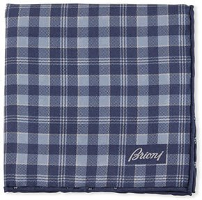 Reversible Plaid/Small-Flower Pocket Square