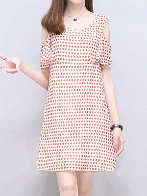 Round Neck Printed Shift Dress shop, cheap online stores, printing Shift Dresses, tunic dress, flowy dresses