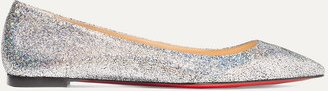 Ballalla Iridescent Glittered Leather Point-toe Flats - Silver