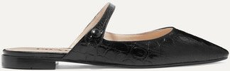 Croc-effect Leather Slippers - Black