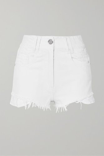 Distressed Denim Shorts - White