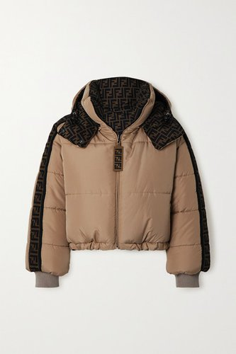 Oversized Reversible Quilted Printed Shell Down Jacket - Beige