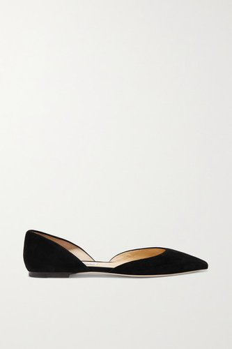 Esther Suede Point-toe Flats - Black
