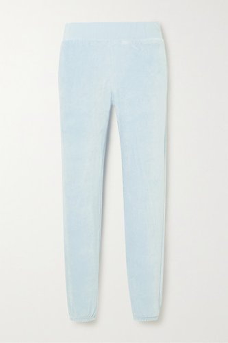 Sonia Stretch-velour Track Pants - Blue
