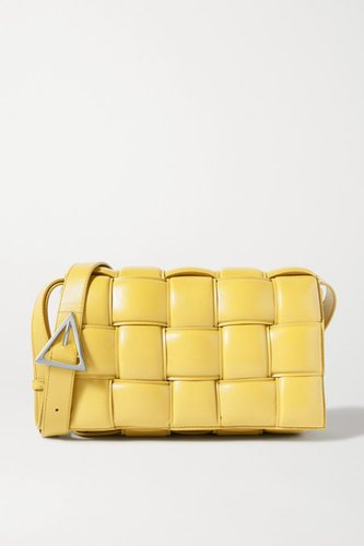Cassette Padded Intrecciato Leather Shoulder Bag - Yellow