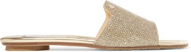 Nanda Glittered Canvas Slides - Gold
