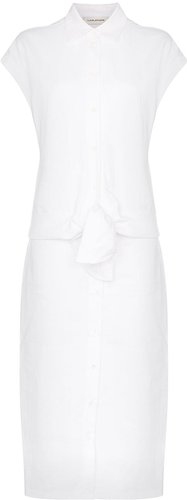 belted linen shirt dress - White
