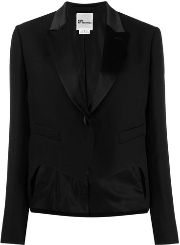 cropped single-breasted blazer - Black