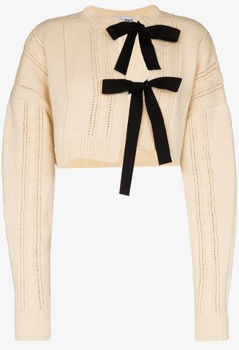 tie front cropped wool cardigan