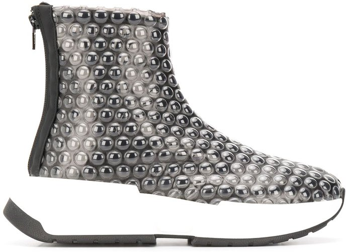 bubble wrap high-top sneakers - Black