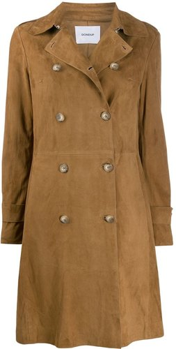 fitted double breasted coat - Brown