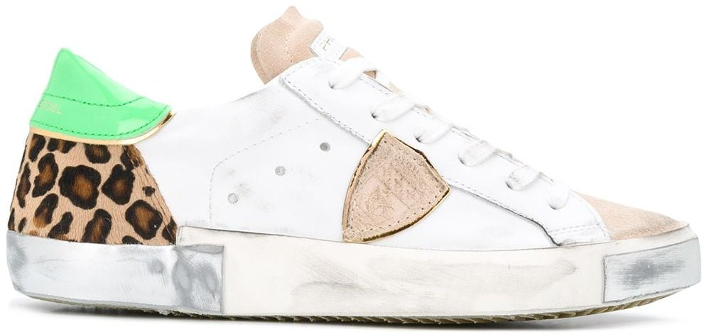 low top leopard print sneakers - White
