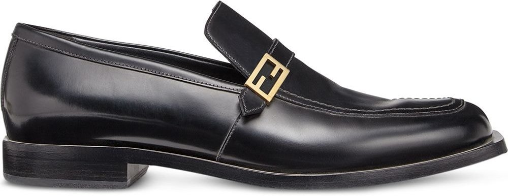 smooth FF detail loafers - Black