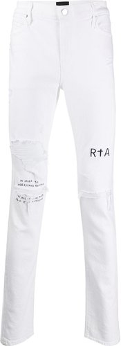 distressed skinny fit jeans - White