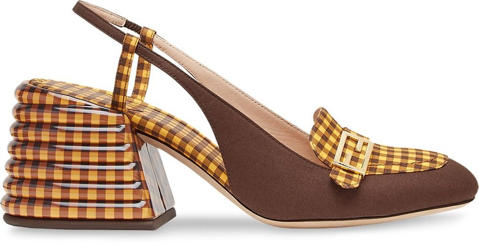 checked slingback pumps - Yellow
