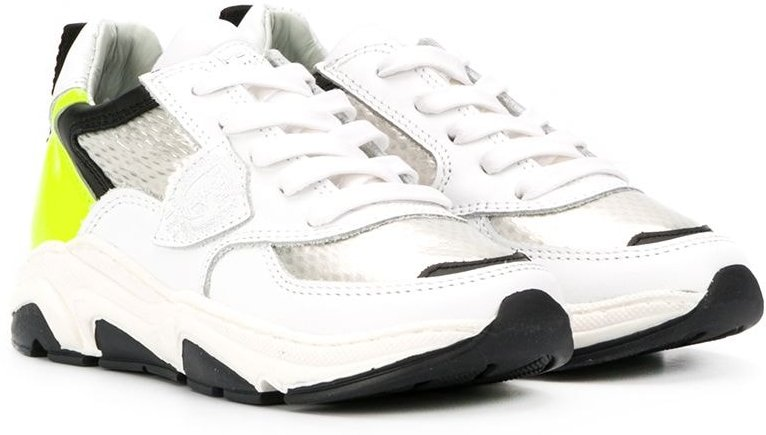 colour blocked low top sneakers - White