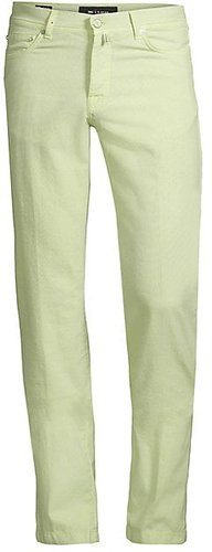Straight-Fit Textured Five-Pocket Trousers - Green - Size 38