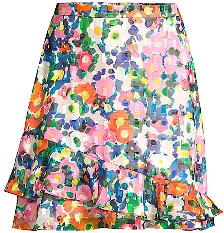 Cece Ruffled Floral Skirt