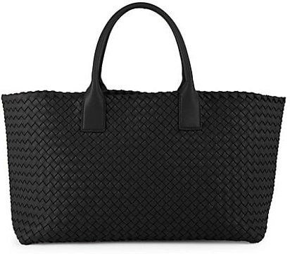 Basket Weave Leather Tote - Black