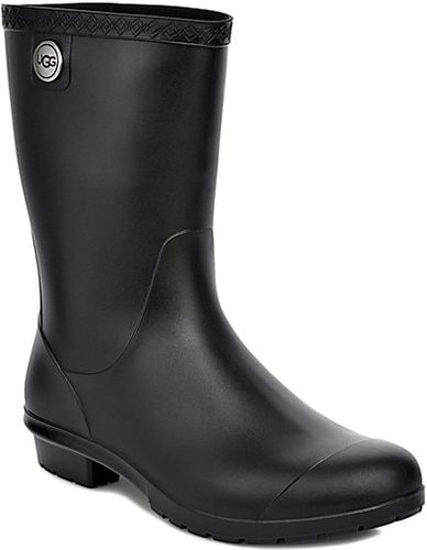 Sienna Matte Shearling-Lined Rain Boots - Black - Size 7