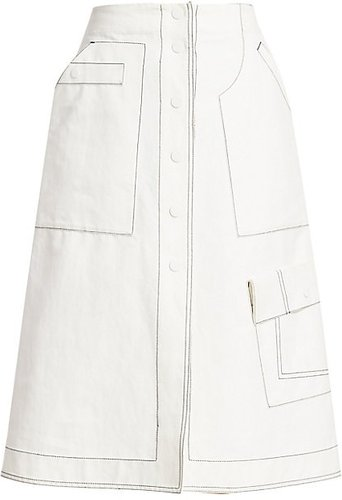 Exposed Seam A-Line Twill Skirt - Off White - Size 8