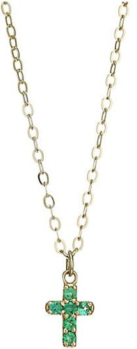 Lois 14K Yellow Gold Emerald Cross Necklace