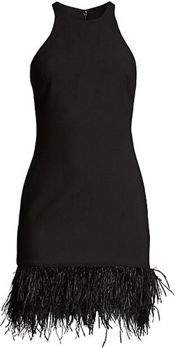 Mora Feather-Hem Mini Dress - Black - Size 8